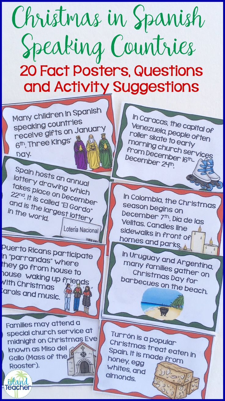 Introduce students to Christmas traditions in Spanish speaking countries with these quick fact posters. Includes 20 posters, recording sheets, questions, and suggested activities.