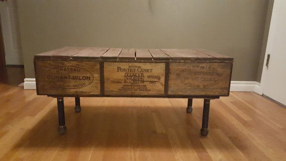 Wine box Coffee table by LockWoodProjects on Etsy