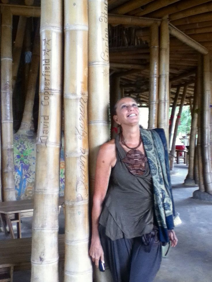 Donna Karan with her carved bamboo pole at Green School Bali