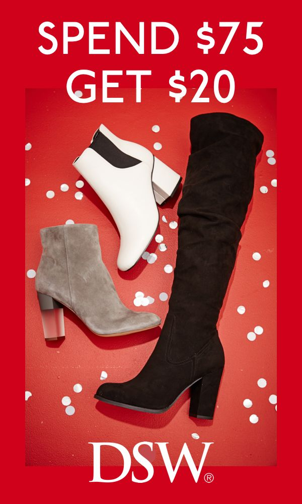 Spend $75 and Get $20 in DSW Dollars. Shop DSW.com through 12/