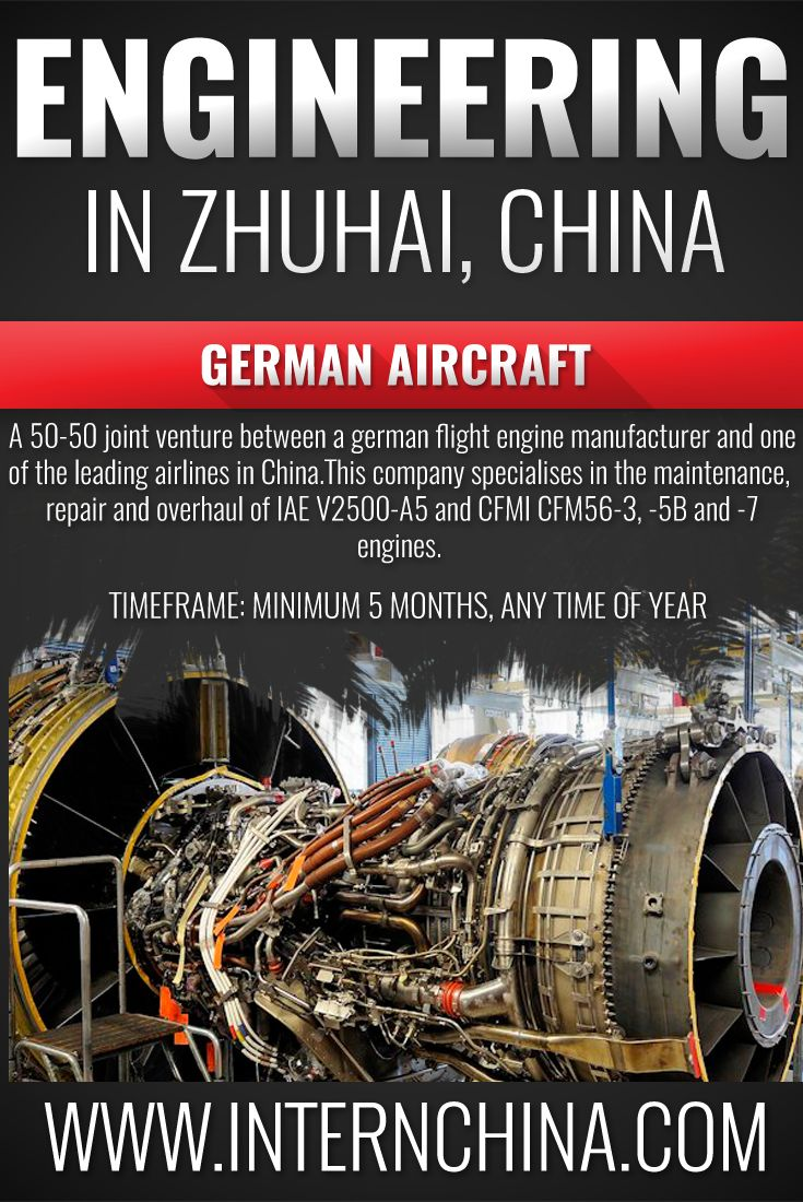 Are you a Aeronautical-Mechanical Engineering student? Then this internship is for you! Based in Zhuhai, South China, this company is a joint venture between a German and Chinese firm, and is the leader in the Chinese market in V2500 and CFM56 engine repairs. See more information: V2500 and CFM56 engine repairs Intern China is a market leader in Chinese internships and offers alternative locations for students to study in China to get an authentic experience.