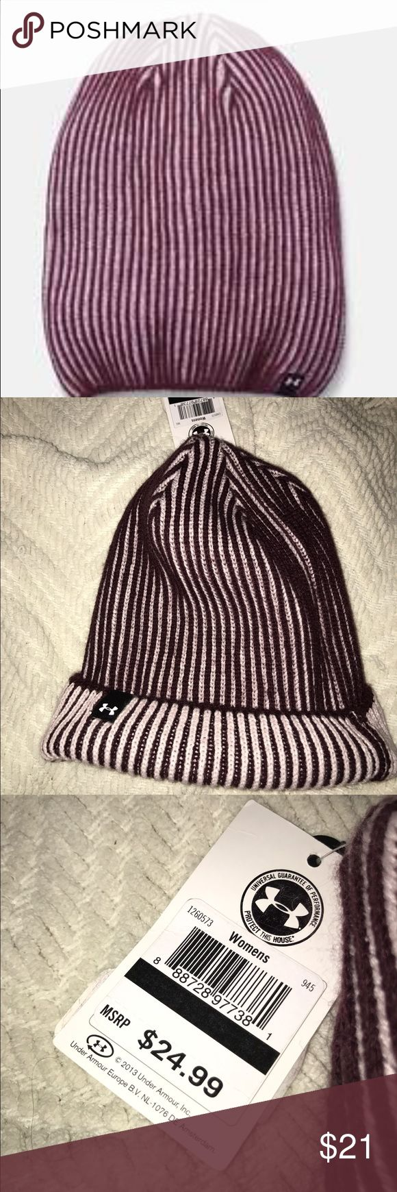 NWT Under Armour Knit Hat Under Armour Women's Deep Burgundy   Basic soft, rib knit construction Versatile design can be cuffed up or worn slouchy 100% Acrylic Under Armour Accessories Hats