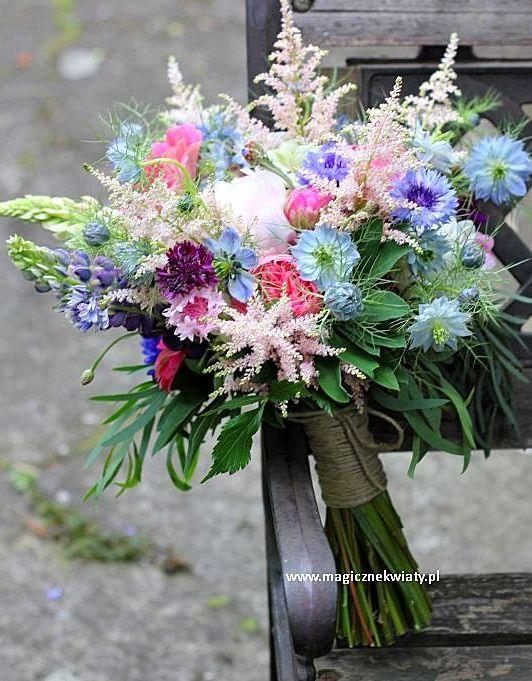 bukiet ślubny vintage, Astilbe, Nigella, róża angielska, piwonie...