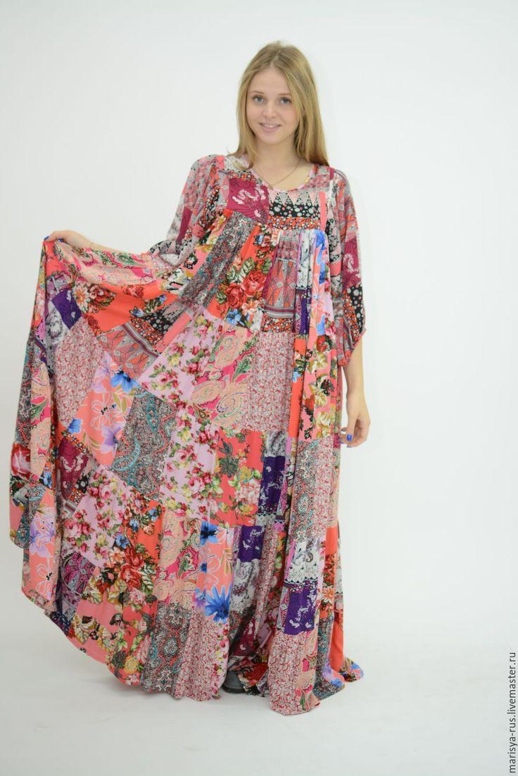 """Купить Лоскутное платье """"Огненный закат"""" - орнамент, розовый, платья марыся, платье летнее"""