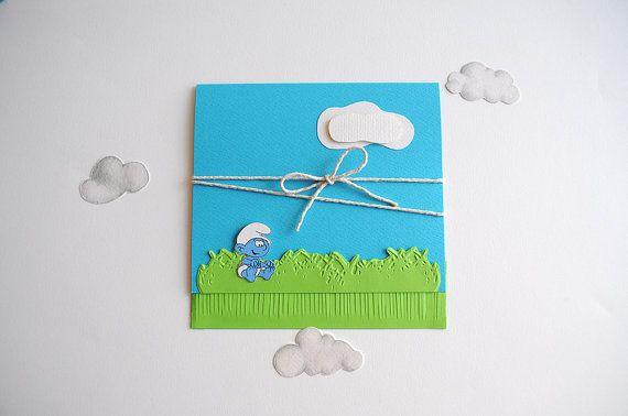 Handmade Smurfs Invitation for Baptism/ by InvitatiiCouture