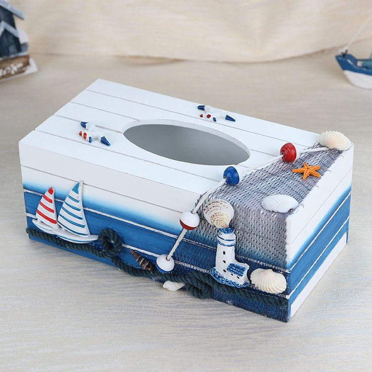 Caioffer Decoration Mediterranean Style Cute Wooden Tissue Boxes Caixa Madeira Toilet Bathroom Tissue Canister Paper Box CXE01