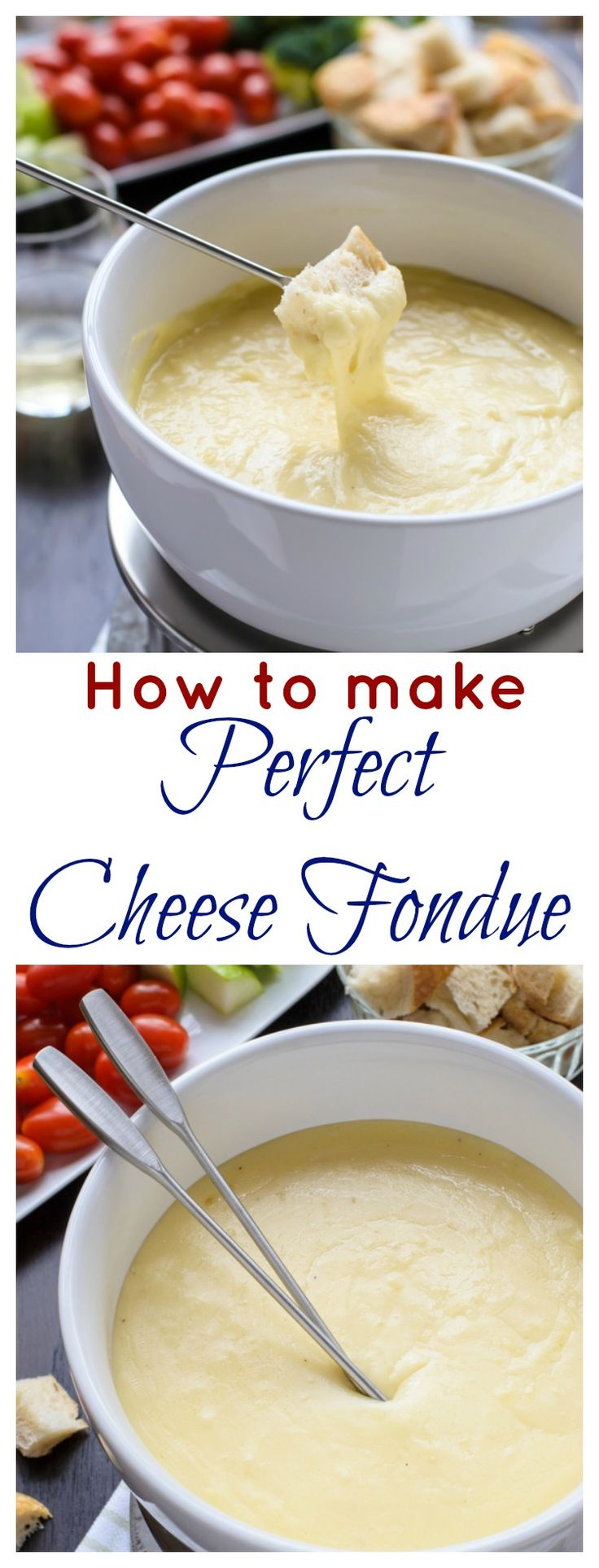The perfect New Year's Eve party idea! Three Cheese Fondue. A classic cheese fondue recipe, ideas for fondue dippers, and how to make the perfect cheese fondue every time.
