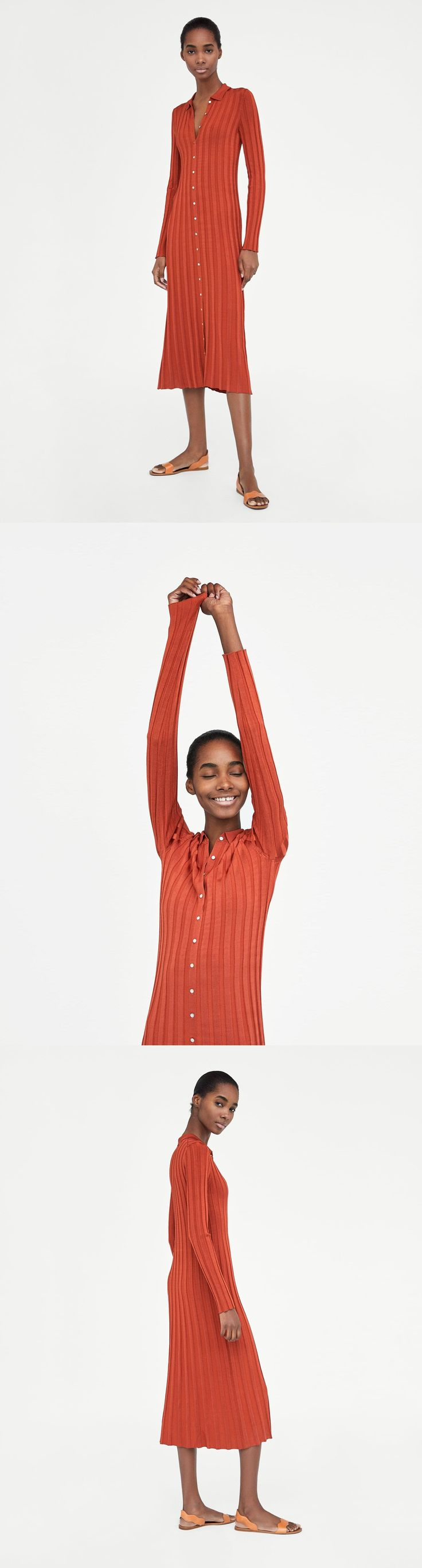 Ribbed Dress With Polo Collar // 69.90 USD // Zara // Long, ribbed knit dress made from flowing fabric, featuring a polo collar, long sleeves and a button-up front. HEIGHT OF MODEL: 179 CM / 5′ 10″