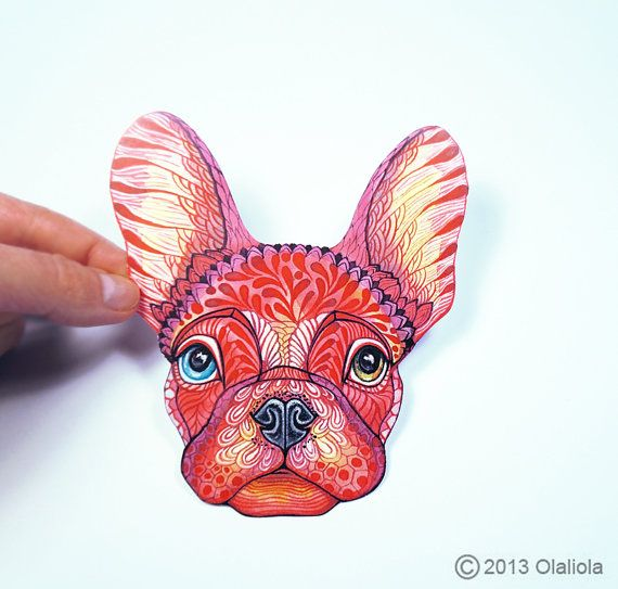 Etiqueta engomada linda del Bulldog Francés / / venta 3 por 2 / 100% impermeable etiqueta de vinilo.