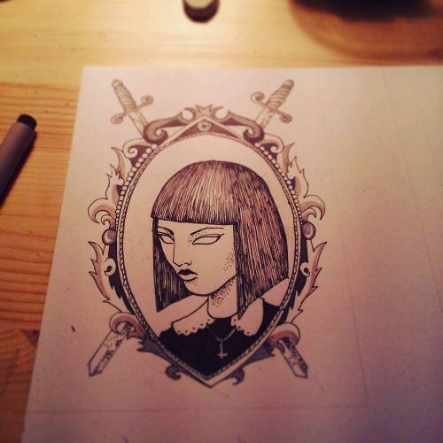 Girly- black ink and grey brush pen on paper. for more my art check  Fb: http://facebook.com/cipananatalia Insta: @cipananatalia  or if you will buy my prints  http://society6.com/cipananatalia