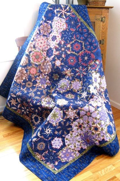 Art Quilt Geometric Blue and Lavender Throw or by SallyManke, $375.00