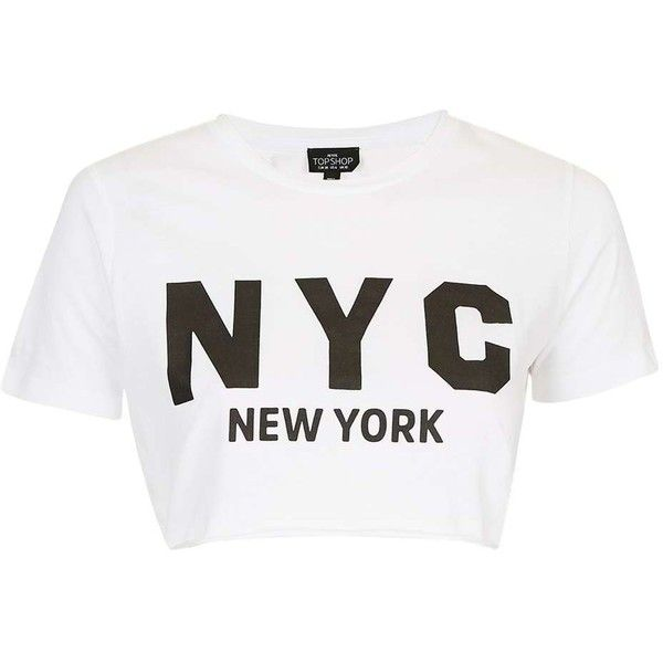 TopShop Petite New York Crop Tee (€19) ❤ liked on Polyvore featuring tops, t-shirts, white crop t shirt, crop t shirt, cotton tee, white tee and short sleeve t shirt