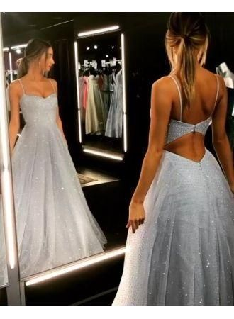 Gorgeous Spaghetti-Strap Long Prom Dresses | 2019 Sequins Icy Blue Beaded Evenin…