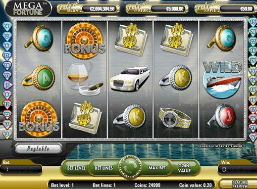 Игровые аппараты Mega Fortune на деньги. Красочный онлайн аппарат Mega Fortune от компании NetEnt позволит всем игрокам окунуться в мир роскоши и богатства. В нем есть 5 барабанов и 25 игровых линий, а также символ Wild. Значительно увеличить выигрыш помогут бесплатные вращения и