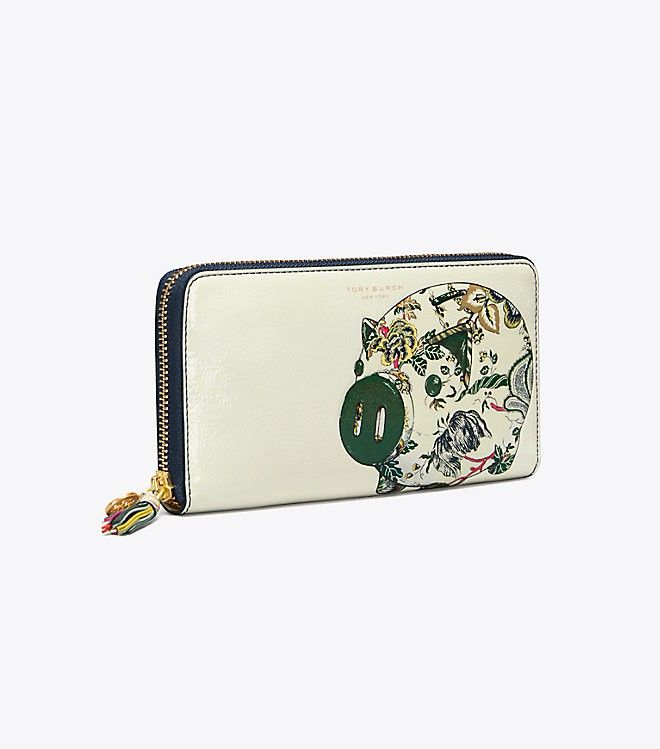 2f7571fcadfd Tory Burch Peggy The Pig Zip Continental Wallet - Navy Small Happy Times