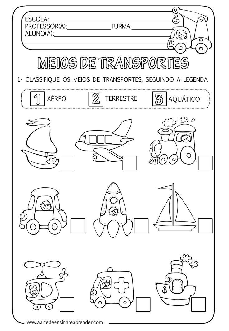 A Arte de Ensinar e Aprender: Atividade pronta - Meios de transportes