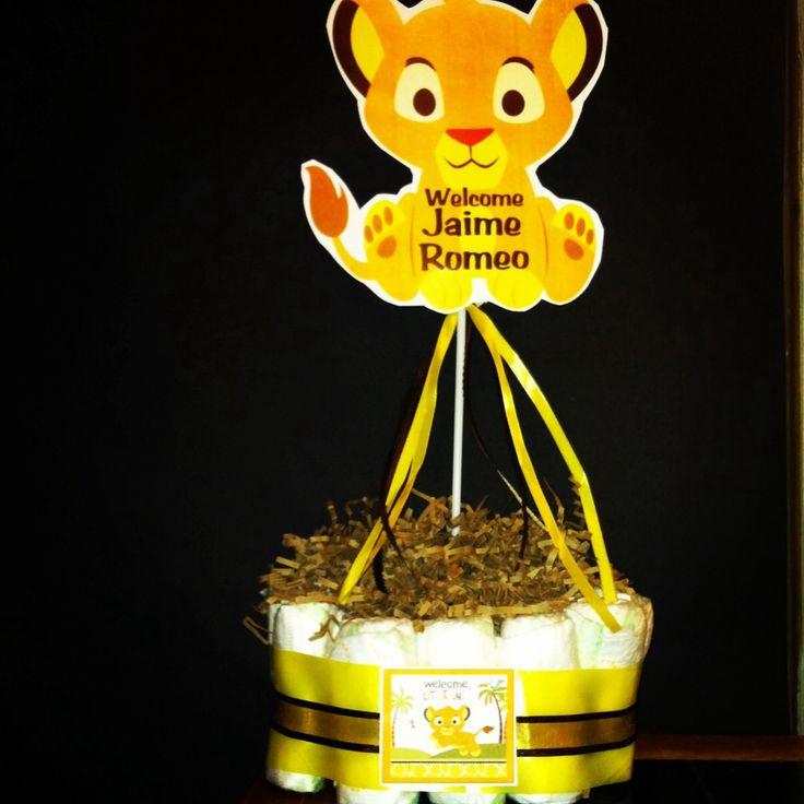 Lion King Simba Baby Shower Centerpiece.. DIY Diaper Cake