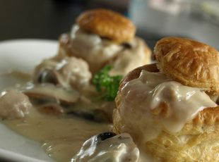 Chicken Vol au Vent - (A vol au vent can have just about any filling, meat and/or vegetable, as long as the filling is thick–and hopefully yummy. A dessert vol au vent would also be good.)