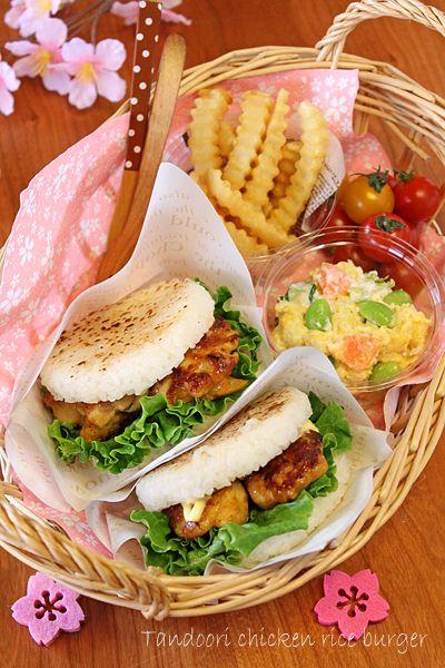 お花見親子弁当☆タンドリーチキンライスバーガー - ぱおのおうちで世界ごはん☆ bento #rice #bread