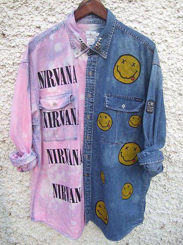 Dip Tie Dye Ombre Denim Shirt Dress Grunge 90s Nirvana Calvin Klein Studs