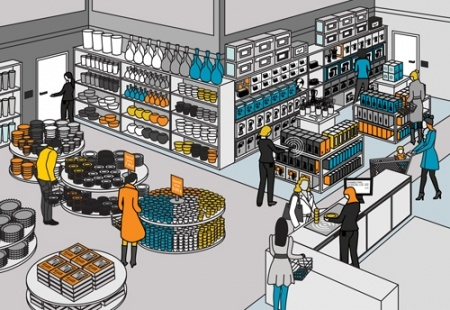 RFID or barcode solutions in specialty retail (well, to be honest, this could also be a supermarket) by Nordic ID. :)