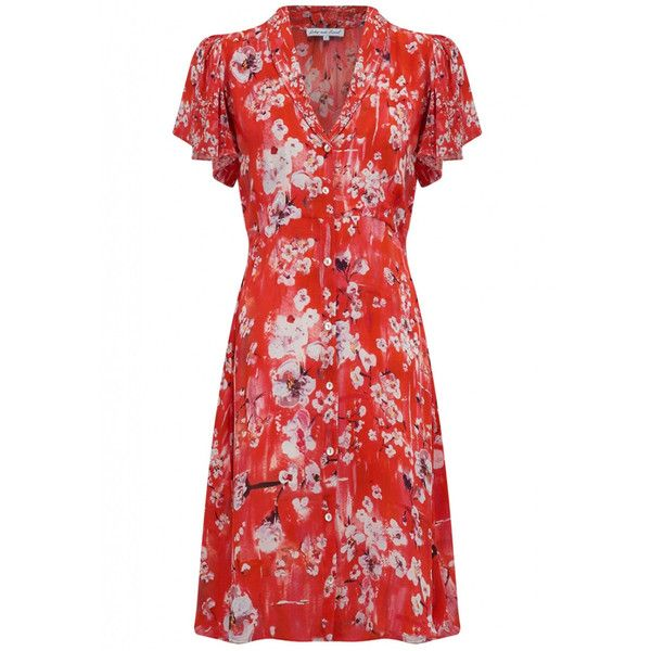 Lily and Lionel Winnie Button Down Midi Dress - Ruby Red ($390) ❤ liked on Polyvore featuring dresses, ruby red, floral print dress, red dress, mid calf length dresses, summer midi dresses and ruby red dress