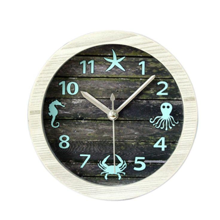 Mediterranean Style Jellyfish Crabs Crocodile Starfish Vintage Imitation Wood Round Quartz Alarm Clock Silent Desktop Table Clock