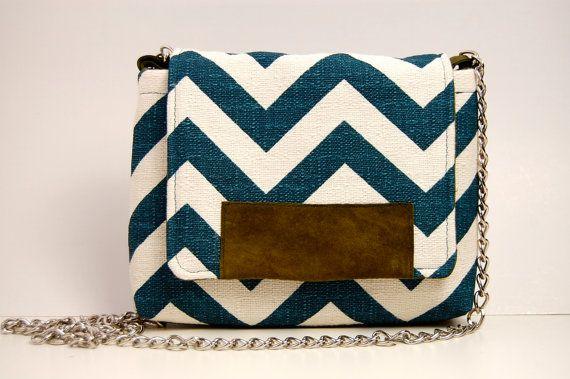 teal chevron cross body purse