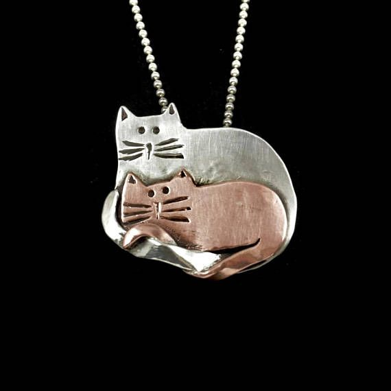 Kitty Lover's Jewelry Sterling Cat Necklace Unusual