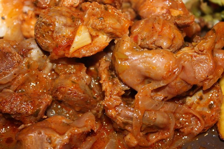 this braised chicken gizzards recipe includes cumin ground annatto seeds or bija and a