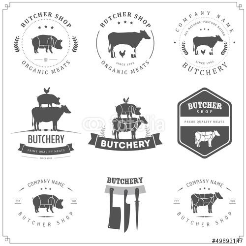 Vector: Set of butcher shop labels and design elements
