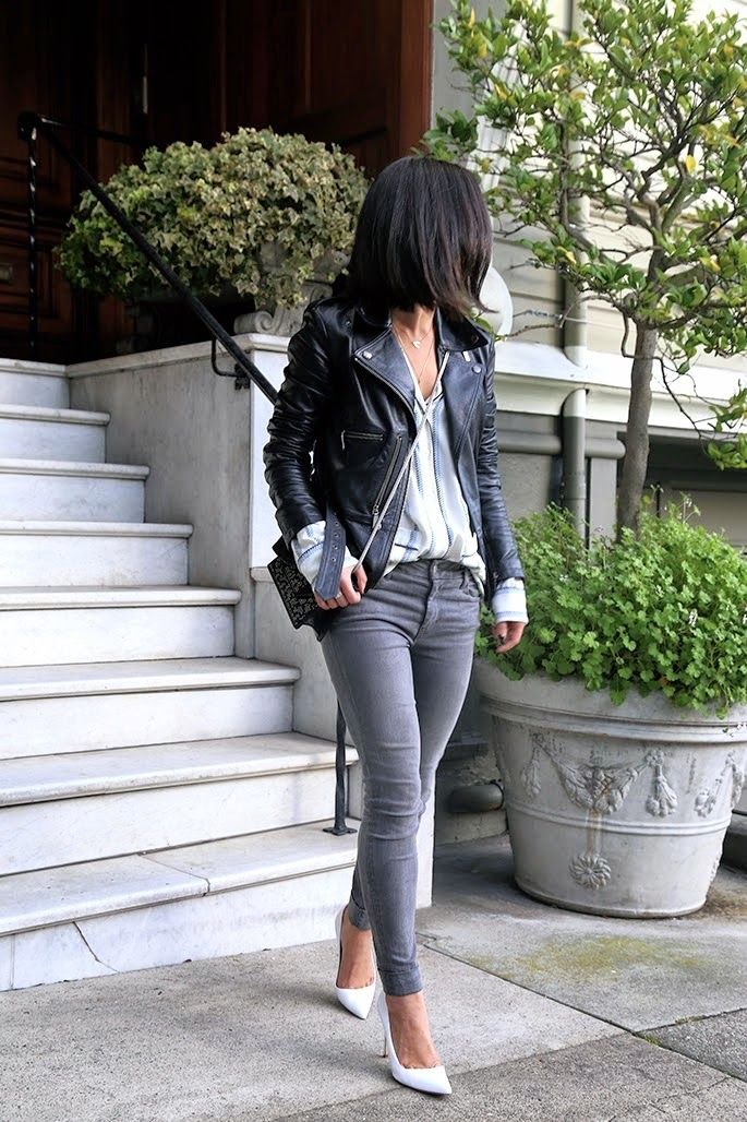 This Time Tomorrow: Trend Alert: White Pumps, Manolo Blahnik, Grey Jeans, Leather Jacket