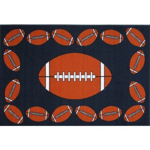 """Football Area Rug 39""""x58"""" by FindingKing. $74.99. This is a new Football medium pile area rug. Perfect for use in your bathroom, living room, kid's room or as a door mat. It is made of 100% nylon and measures approximately 39"""" x 58"""" (99.06 x 147.32 cm). Football Medium Pile Area Rug 39""""x58""""      This is a new Football medium pile area rug    Perfect for use in your bathroom, living room, kid's room or as a door mat    It is made of 100% nylon and measures approximately 39"""" x 5..."""