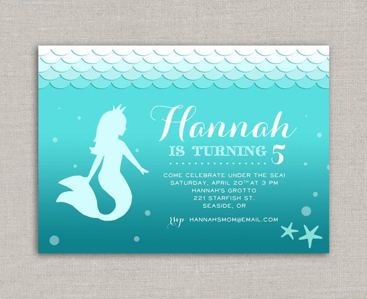 Ombre mermaid birthday invitation 15 00 via etsy