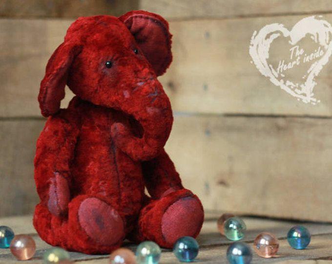 Red elephant toy Teddy elephant Gift for her Girlfriend gift Artist teddy bear Teddy bear friend Ooak teddy Custom teddy Cute plush Kawaii