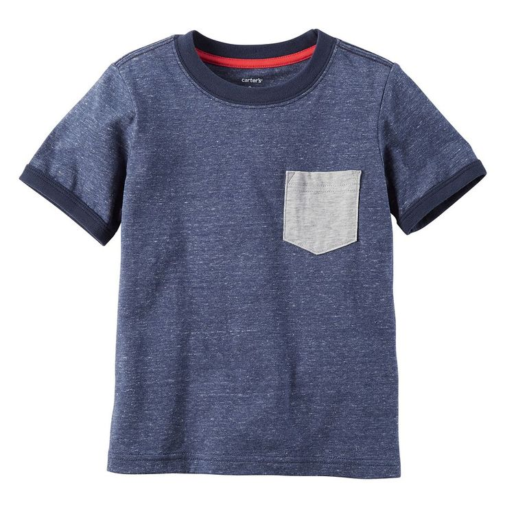 Toddler Boy Carter's Pocket Slubbed Ringer Tee, Size: 4T, Light Grey