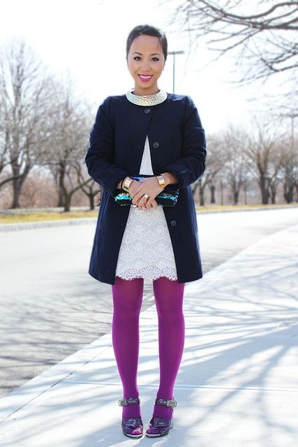 purple tights, white lace dress, navy dress coat Twirling Clare: colored tights