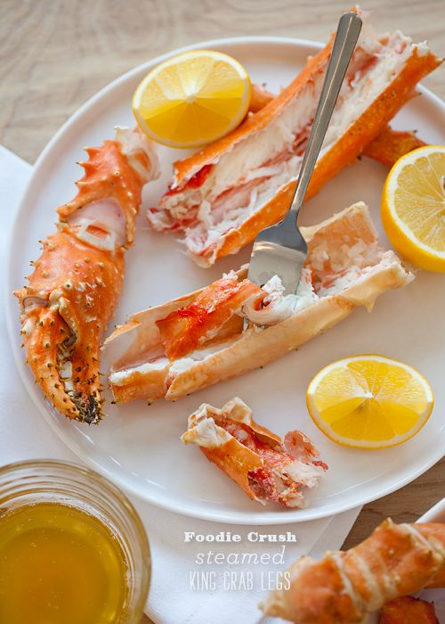 steamed king crab legs...a good tip for warming them up. #foodiecrush. Thanks, I'll try this. I usually put them in their frozen state on a 1/2 sheet into a 350 degree oven for 25 minutes...works really well also.