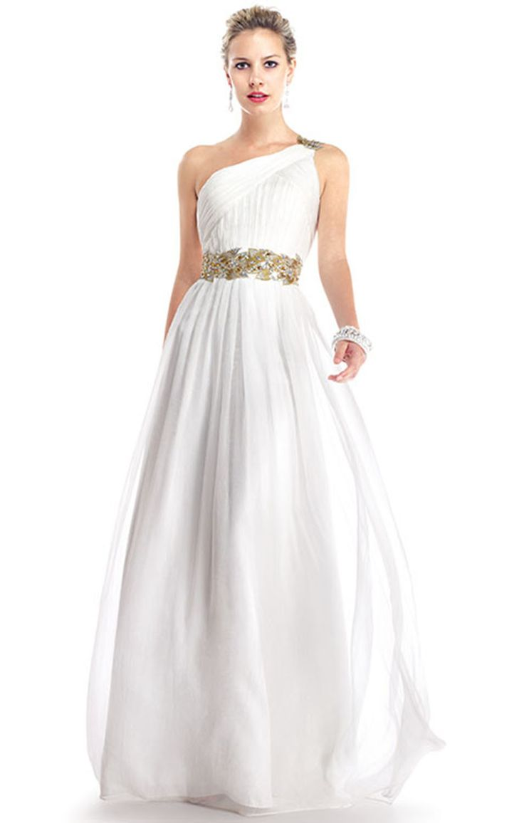 Greek style long white prom dress simple wedding dress for Grecian goddess wedding dresses