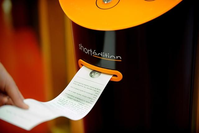 A vending machine that dispenses short stories!  Have three minutes for a quick read? Grab a free short story in France!