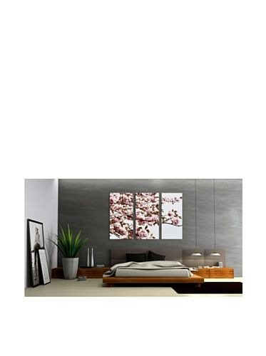 Art Addiction Cherry Blossom, Triptych with grey accent wall.  Dope!!