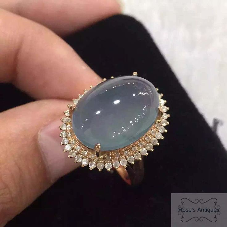 18K Rose Gold Diamond Icy Jadeite Ring