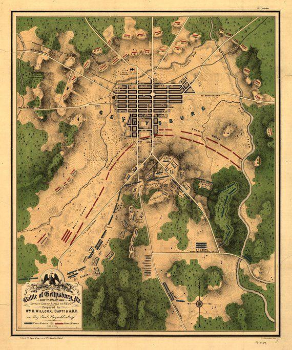 Gettysburg College Map : gettysburg, college, Gettysburg, Battle, Gettysburg,, Civil, Battles,, History