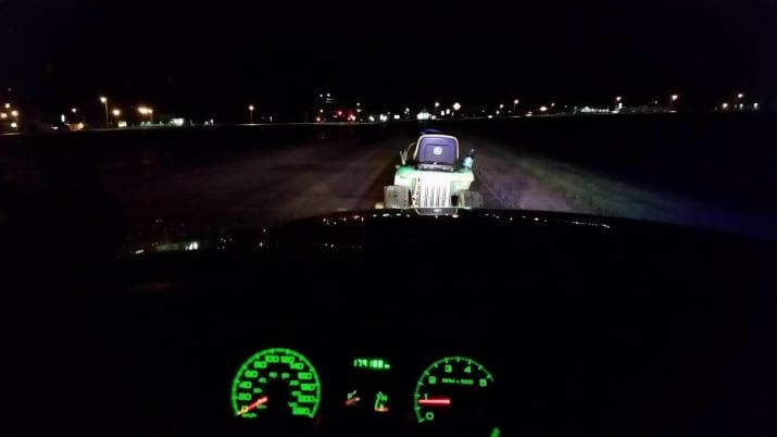 The Manitoba RCMP said they pulled over the 41-year-old man and his 39-year-old female passenger on Saturday night in Headingley, a small community west of Winnipeg. The pair were headed toward the highway on a John Deere riding mower when they were stopped by police.
