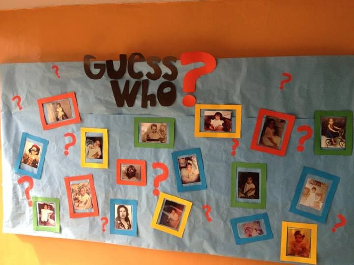 Classroom Decoration Teacher ~ Bulletin board children had to guess who was their