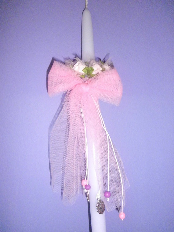 Greek Easter Candle Girl Pink Flowers by FourSeasonsCreations, $13.00