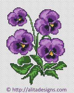 viooltjes borduren in kruissteek