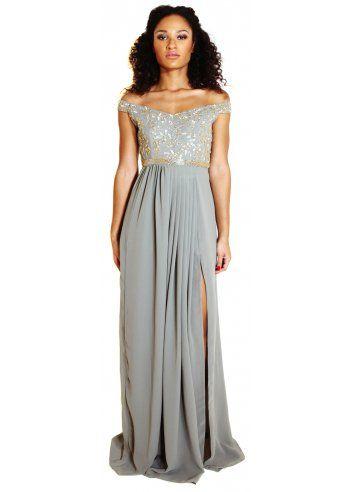 Virgos Lounge Juliana Grey Off The Shoulder Maxi Dress