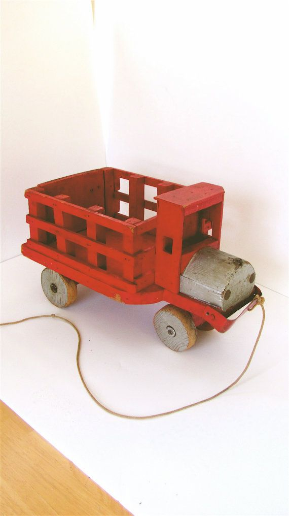 Vintage 50s Homemade Toy Wooden Truck by BellaLaineVintage on Etsy, $38.00