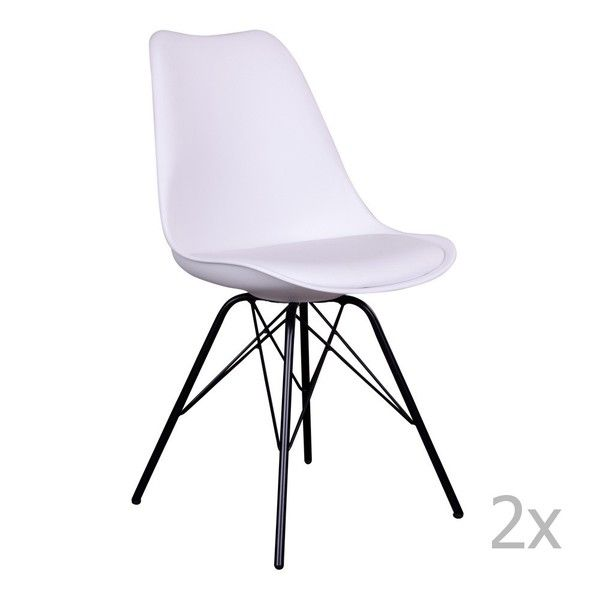Sada 2 Bielych Stoliciek S Ciernymi Nohami House Nordic Oslo House Eames Chair Chair